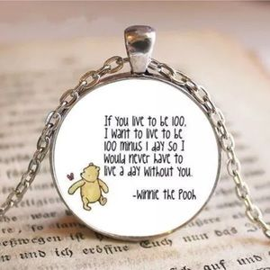 Winnie the Pooh Glass and Tibetan Silver Necklace